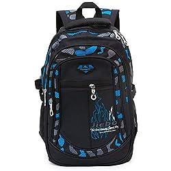 Mochila Escolar Carga Pórtatil Oxford Bolsa Escuela Viajes Outdoor Gran Capacidad para Estudiantes para Chicos (Negro y Azul)