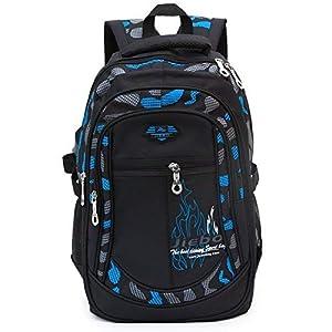 41UTxkYoHEL. SS300  - Mochila Escolar Carga Pórtatil Oxford Bolsa Escuela Viajes Outdoor Gran Capacidad para Estudiantes para Chicos (Negro y Azul)