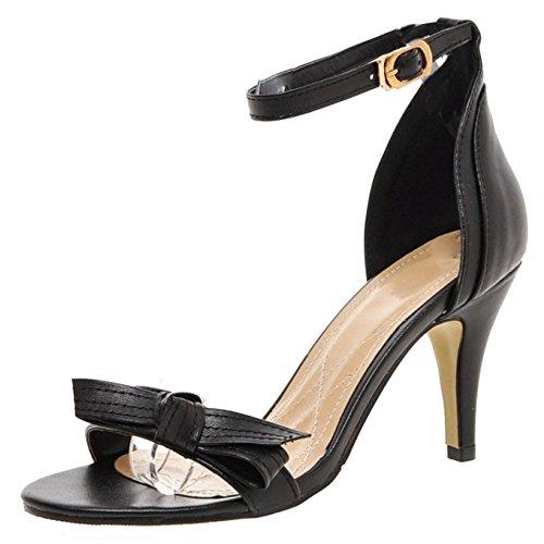 TAOFFEN Femmes Mode Aiguille Sandales Talons Hauts Bout Ouvert Sangle De Cheville Chaussures De Bowknot Noir