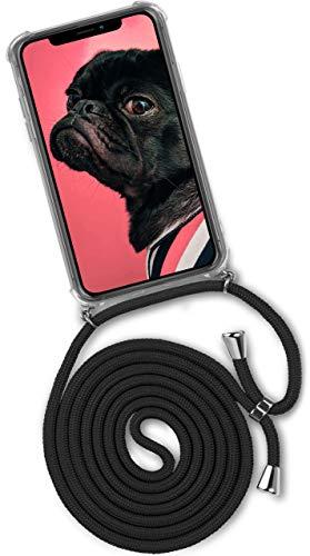 passend für iPhone Xr | Stylische Kordel Kette - Kristallklare Handyhülle mit Band zum Umhängen in Schwarz ()