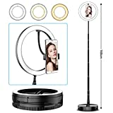 Anillo de Luz con 160 pcs Cuentas de Led Super Brillante y 3 Colores de Luz, Ring Light con Clip de Teléfono para Video de Youtube, Selfie de fotografia, Maquillaje, Compatible con Android y iPhone