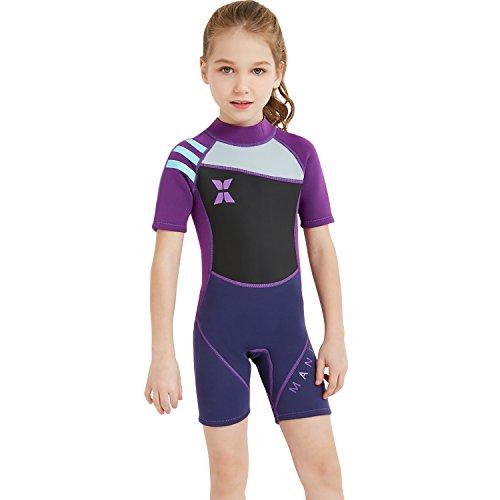 GWELL Jungen Mädchen Kinder Neoprenanzug 2.5MM Neopren Kurzarm Warmhaltung UV-Schutz Tauchanzug Badeanzug für Wassersport Violett XL