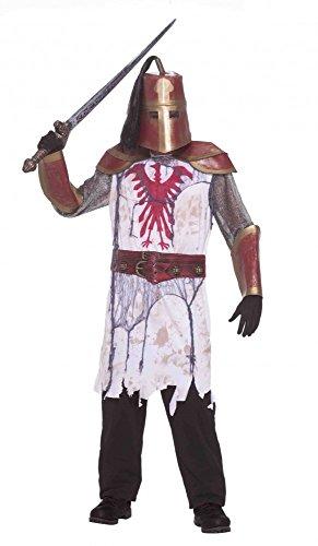 Herren Kostüm Roter Zombie Ritter Gr. M/L Halloween Krieger Kämpfer (Kreuzritter Zombie Kostüme)