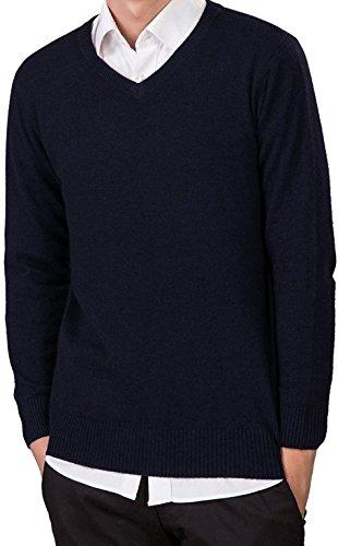 LongMing Herren Männer Kaschmir Wolle V-Ausschnitt Pullover Langarm Freizeit Winter Pulli Komfort-fit/bequeme Form vielseitig kombinierbar Navy Blue