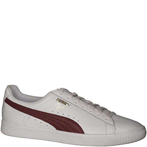 Puma Mens Clyde Core Foil Sneakers White/Cabernet/Puma Team Gold