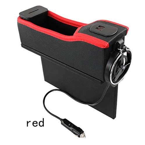 SKINGO Boîte de Rangement pour Voiture USB avec Ruban de Charge à Affichage numérique pour boîte de Rangement Porte-gobelet matelassé Multifonctions en Cuir