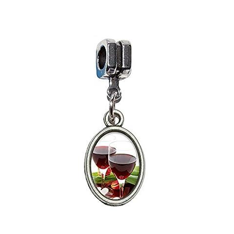 Amour Romance anniversaire de mariage coeurs à vin Celebration Euro européen italien Style Bracelet charm perle–Compatible avec Pandora, Biagi, Troll, Chamilla,