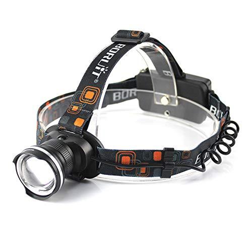 Glare T6 Scheinwerfer mit Fischauge, zum Laden von Angeln, Jagd, Taschenlampe, 2190 Schwarz, mit direkter Aufladung + 2 x 1500 Kapazität + Lithium-Batterie
