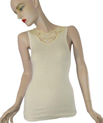 Medima Extra Light Angora Unterhemd 2377, ärmellos, mit Spitze, Gr.S, weiß -