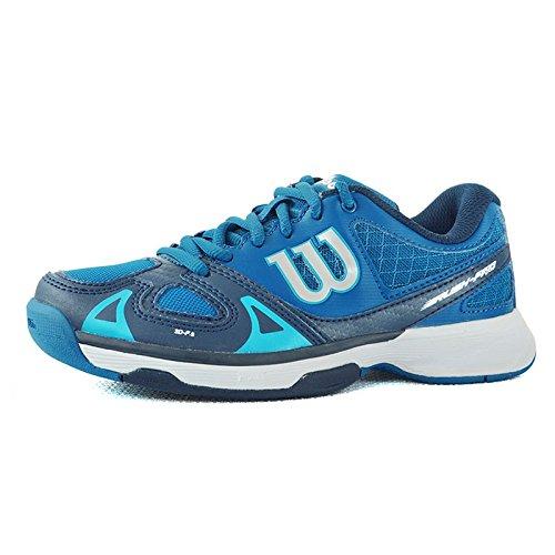 Wilson Unisex-Kinder RUSH PRO JR Tennisschuhe, Mehrfarbig (DEEP Water/Navy Scuba Blue), 35 1/3 EU