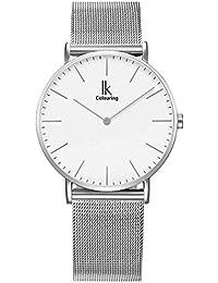 Alienwork IK Reloj cuarzo elegante cuarzo moda diseño atemporal clásico Metal blanco plata U04916G-01