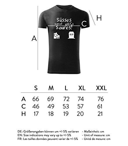 Herren Halloween - T-Shirt Poloshirt mit Motiv - Design - Party - Freizeit - Sport - Fun -S-XXL - NEU – Süßes sonst gibts Saures Schwarz