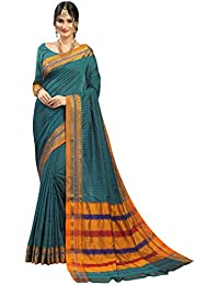 Craftsvilla Women's Silk Blend Green Saree With Blouse Piece