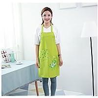 GYPO Conveniente Delantal Estampado Impermeable Floral del Cuello de la Historieta Creativa con el Bolsillo (Verde) para cocinar