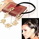 Lady donne ragazze elegante pizzo elastico per capelli fascia del cerchio accessorio fasce tie fasce turbante da Boolavard ® TM (golden Leaf)