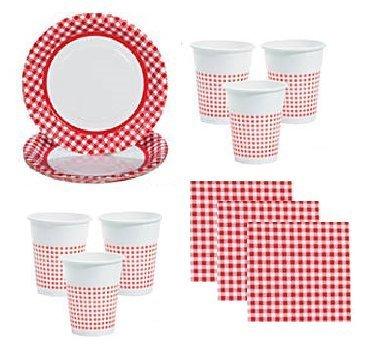 Rot Gingham Party Supplies Picknicks Camping für 48Gäste Inklusive Großer Teller, Servietten & Cups