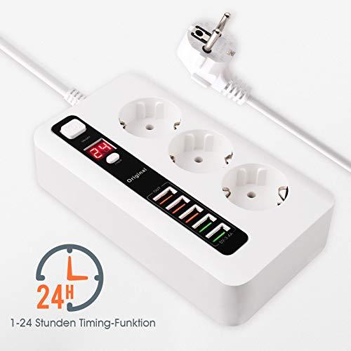 Regleta de 3 enchufes con 5 puertos USB con función de temporizador de 1 - 24 horas, enchufe ignífugo, protección contra sobretensiones para smartphones y tablets (cable de 2 m)