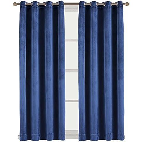 Flanella velluto Drapes Tenda a pannello tenda oscurante per finestra con vite centrale, Flanella, Navy, 46 inch x 54 inch