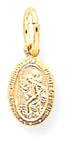 IceCarats 10k Yellow Gold Solid Saint Christopher Necklace Pendant Charm