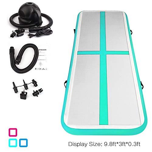 Fojusteu 3M Air Track Aufblasbar Gymnastik Tumbling Matte Air Track Weichbodenmatte für Zuhause/Yoga/Taekwondo/schwimmende/Camping Trainingsmatte mit Elektrische Pumpe
