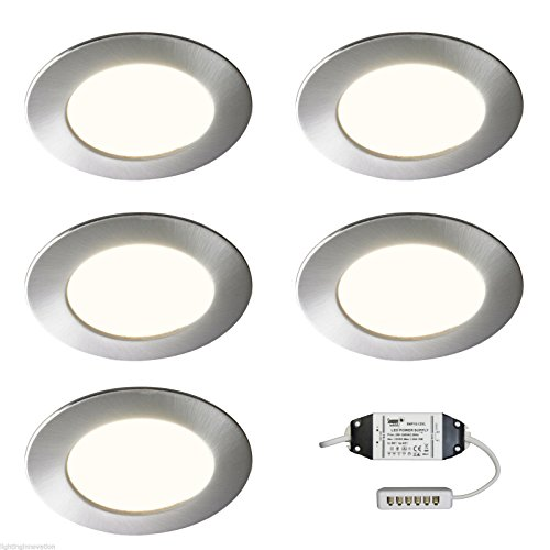5x-recessed-led-kitchen-under-cabinet-cupboard-shelf-light-brushed-diffused-sirius-warm-white
