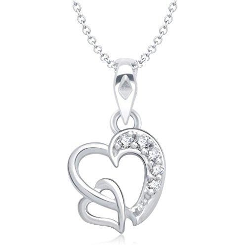 Vina Jewels Valentine Dual Heart Shape Rhodium plated Pendant for Women - P1227R [VKP1227R] [Jewellery]