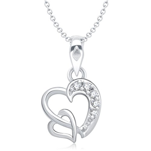 Vina Jewels Valentine Dual Heart Shape Rhodium plated Pendant for Women - P1227R [VKP1227R] [Jewellery]