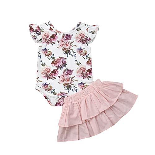 Infant Baby Mädchen Kleidung Set Kurzarm Rundhals Rose Print Strampler Rüschen Plissee Solid Color Rock Outfit Set 2 Stücke für 0-18 Monate (6-12 Monate, Rosa)