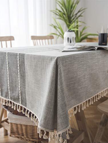 Lanqinglv Quaste Tischdecke 140x240 Abwaschbar Baumwolle und Leinen Tischtuch Grau Tischdecke Rechteck Couchtisch