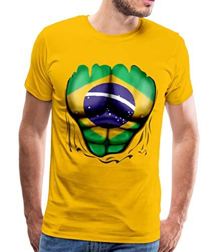 Jungen Für Kostüm Brasilien - Spreadshirt Brasilien Flagge Muskel Männer Premium T-Shirt, XL, Sonnengelb