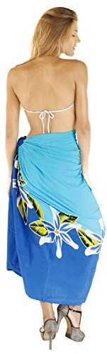 La Leela Badebekleidung Bikini Rock weich coverup Rayon Hibiskus Wrap Sarong 78x43inch Twitter Blau