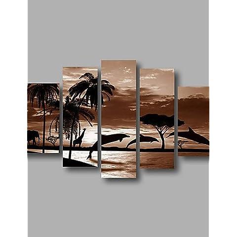OFLADYH ® listo para colgar estirada pintura al óleo de la pared de la lona de arte del amanecer marino delfín pintado a mano enmarcada