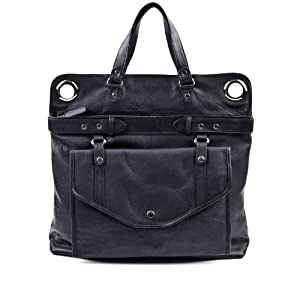 FEYNSINN bolso pañal WENDY - piel genuina negro - bolso de hombro - grande - bandolera (50 x 45 x 6 cm) de Feynsinn of Switzerland