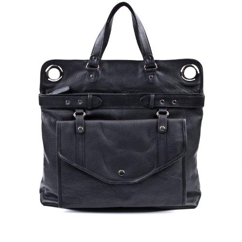Preisvergleich Produktbild BACCINI Wickeltasche WENDY - Schultertasche groß - Baby-Tasche echt Leder schwarz