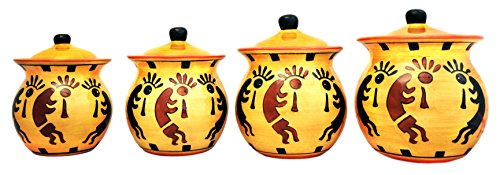 Western Kokopelli, Hand Painted Ceramic, 4pc Canister Set, 83203 By ACK by ACK - Apple Cookie Jar