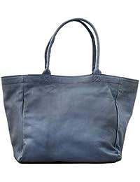 MON PARTENAIRE M Bleu délavé cabas en cuir sac à main style vintage PAUL MARIUS