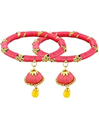 Pass Pass Fashionable, Ethnic Silk Thread Bangles For Women And Girls Set Of 2