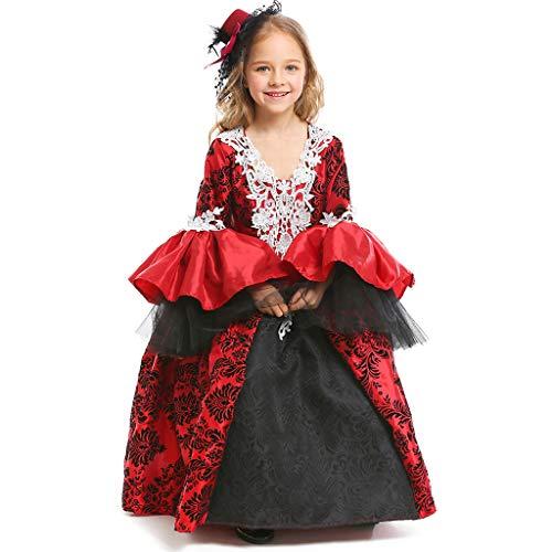Kostüm Gothic Vampir Girls - CJJC Gothic Halloween Girl Vampire Kostüm, Vintage mittelalterlichen Gericht Maskerade Kleid A-Linie Rüschen Ärmel gedruckt Flauschiges Kleid L
