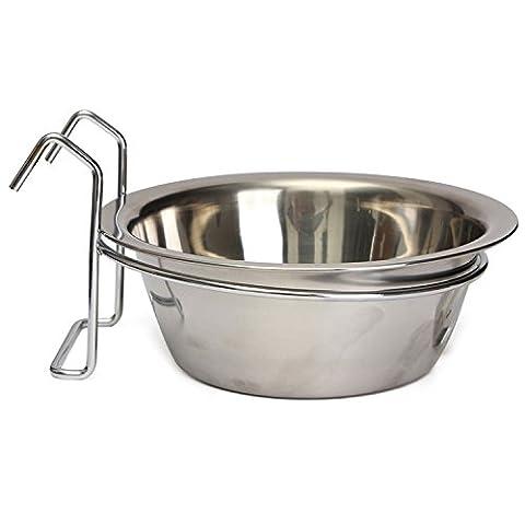 Edelstahl Hundenäpfe Nahrungsmittelschüssel Haustier Schüssel für Hunde Katzen Vogel L