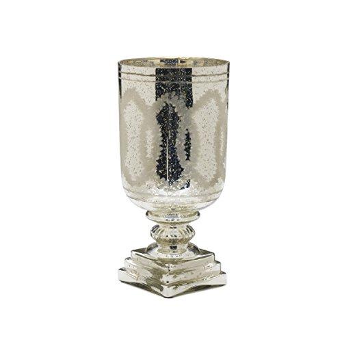 Elements Mercury Glass Etched Hurricane Candle Holder