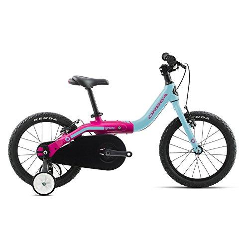 ORBEA Grow 1 Kinder Fahrrad 16 Zoll Bike 1 Gang Aluminium Fahrrad Jungen Mädchen Kleinkind Kids, I002, Farbe Blau Rosa