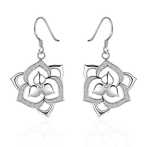 sunifsnow femmes simple Plaqué Argent remarquable convolutions tri-petal Fleur Pendentif Strass Boucles d'oreilles - Diopside Gemstone