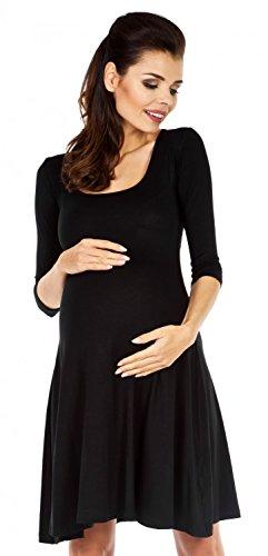Zeta Ville Maternité - robe jersey de grossesse - manches 3/4 - femme - 314c Noir