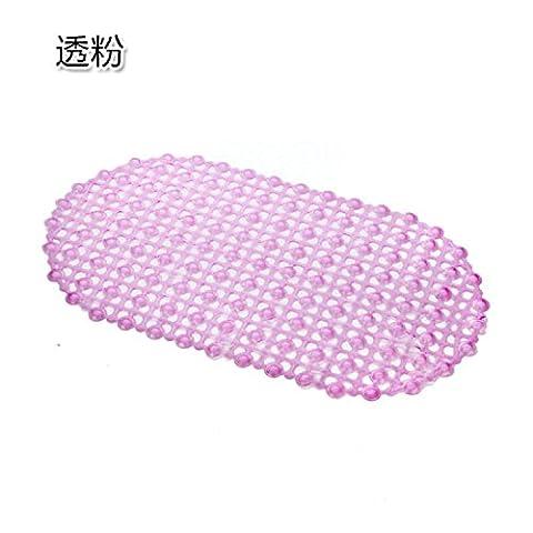 Tapis de massage anti-dérapant avec ventouses respectueux de l'environnement en PVC Bain de salle de bain baignoire Pad goutte à trous carrés Safty Douche Tapis de décrochage, rose, 66cm*37cm