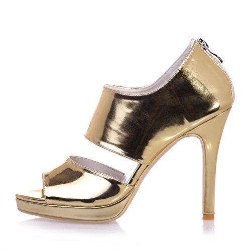 Chalmart Sandales Femme Chaussure à Talon Mariage Escarpins Aiguille Soirée élégant Doré