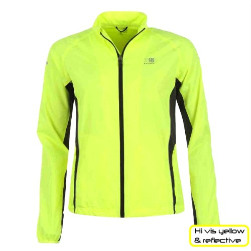 hi viz sports jacket for women autumn winter 2016. yellow and reflective for safety. cycling running training. showerproof, breathable design.