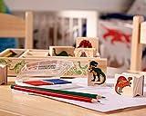 Melissa & Doug Wooden Stamp Set - Dinosaurs (Arts & Crafts, Sturdy Wooden Storage Box, Washable Ink, 14 Pieces)
