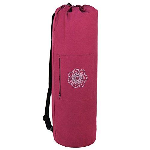 SURYA BAG COTTON Yogatasche groß, (nicht nur) für Schurwollmatten, 100% Baumwolle, aubergine, XL-Format für Yogamatten mit 60cm, 75cm, o...