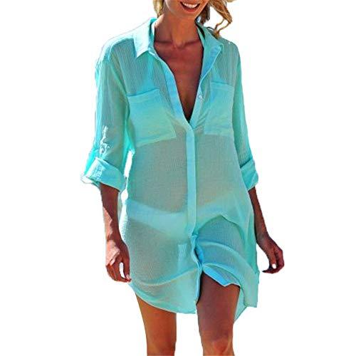Damen Beach Cover Strandrock Womens Sommer Cover Up Pool Schwimmen Sonnenschutz Badeanzug Bikini Bademode Strandkleid Badeanzug Langarm Button Up Plus Bluse Shirt Kleid Beachparty-Schwimmtour
