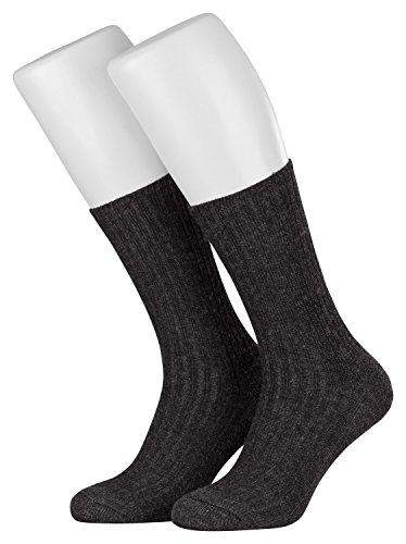Piarini Norwegersocken robust Wolle Herren | Arbeitssocken mit Frotteesohle | warme Wintersocken aus Schafwolle in 3er Pack anthrazit 47-50 (Füße Socken Breite)